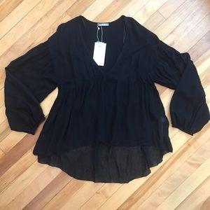Zara black empire waist peasant top wool